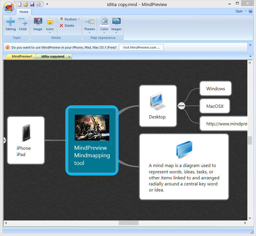Screenshot of MindPreview for Windows